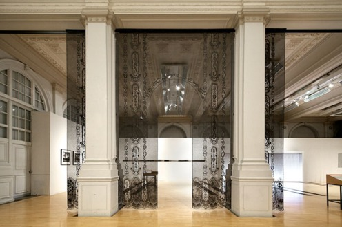 Lacing Space 2012, from the exhibition, Lace in Translation, at the Birmingham Museum and Art Gallery, Birmingham, UK, 15'x15', handcut muslin, gesso, graphite, aluminum armature. Photo credit: Sophie Mutevelian.