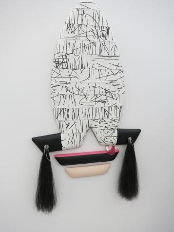 """Aterschool Locker, 2017 Hand-printed vinyl, wood, metal, horsehair, resin 66"""" x 37"""" x 6"""""""