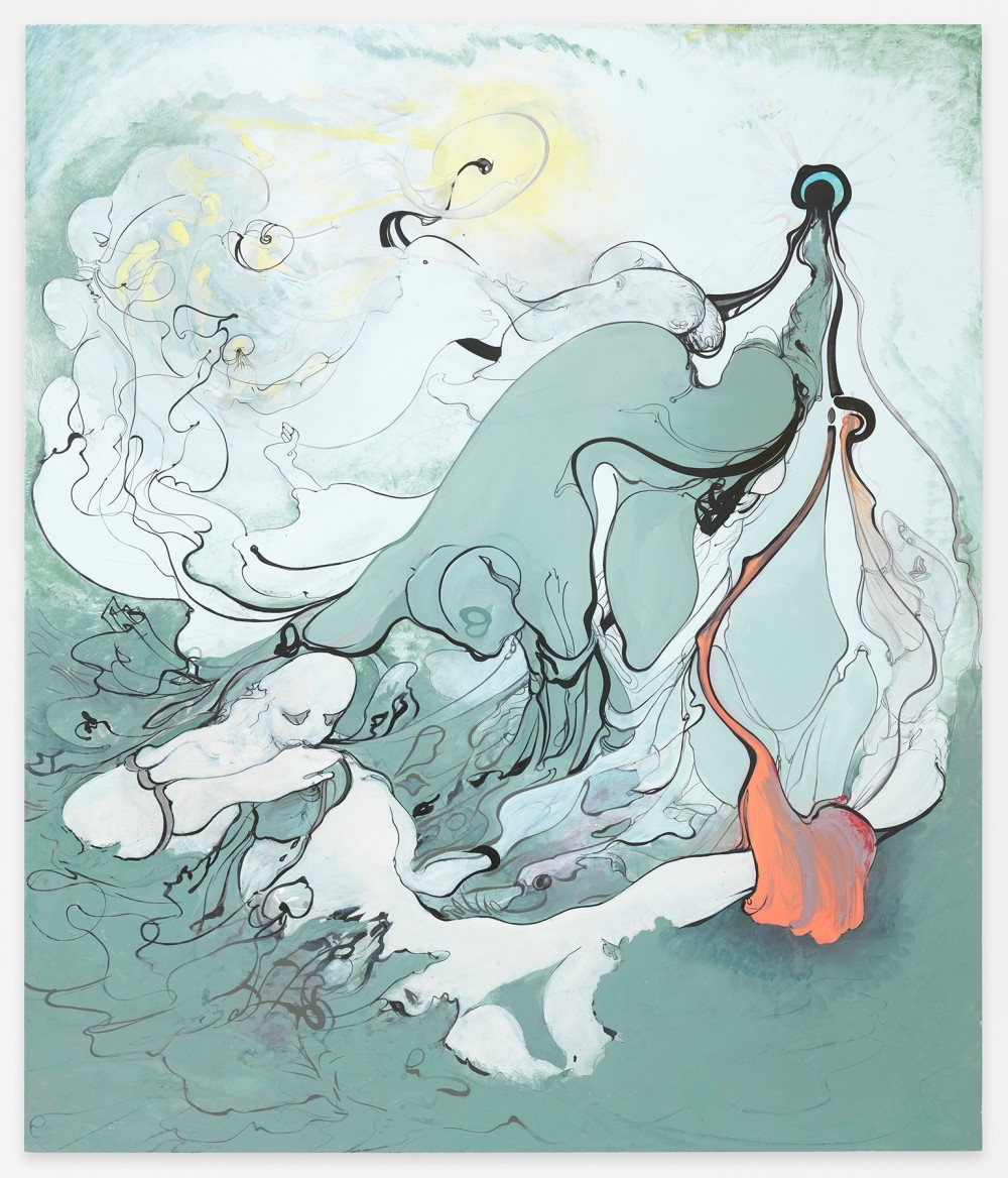 "Inka Essenhigh, Grey Men, 2015, enamel on dibond, 55"" x 47"""