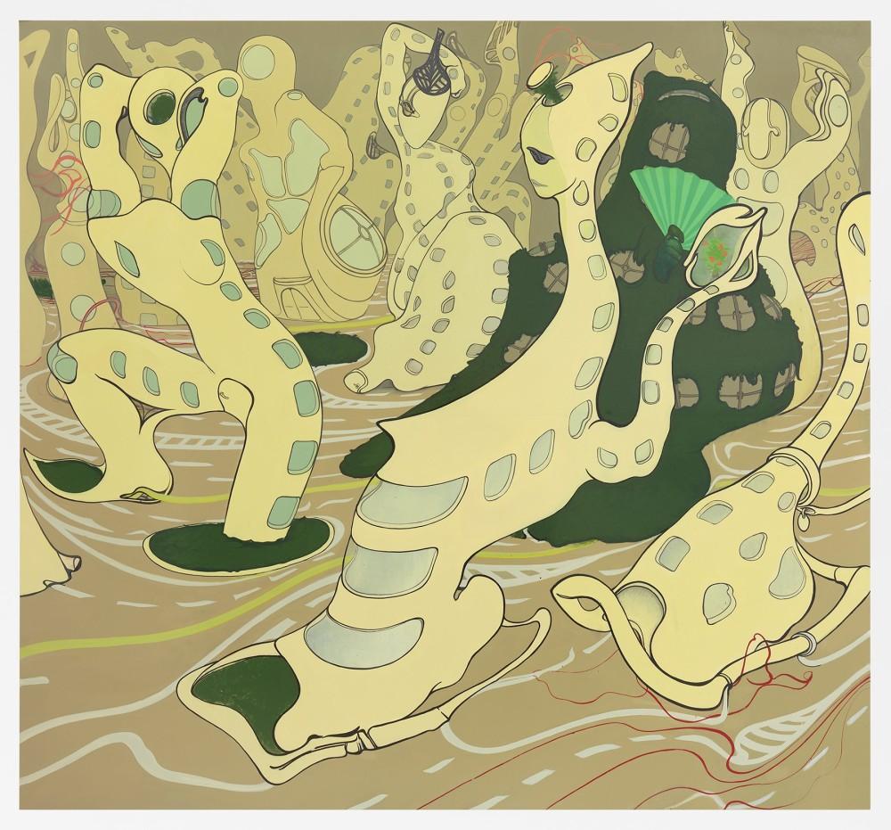 "Inka Essenhigh, New Condos, 2016, enamel on panel, 60"" x 65"""